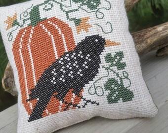 Crow & Pumpkin Cross Stitch Mini Pillow for Fall  READY to SHIP
