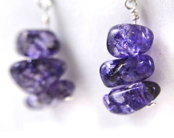 Amethyst Gemstone Earrings / Sterling Silver Ear Hooks / Gift for Her / February Birthstone Jewelry / Purple Stones / Birthday Gift for Her