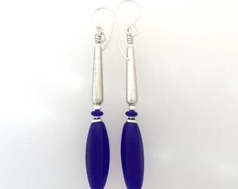 Cobalt Glass And Sterling Silver Earrings  (lng)