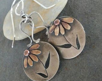 Rustic- OOAK-Artisan-Earrings- Daisy-Flower-Mixed Metal-Handmade- Sterling silver- Brass-Copper-Sale.
