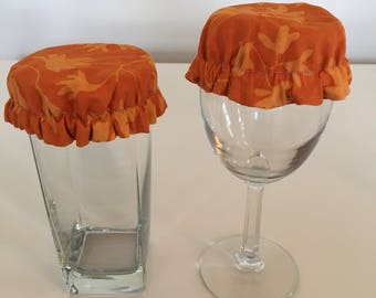 Reusable Wine Cup Glass Cover Orange Leaf Fall Fabric