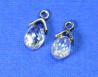 0.9CT Platinum Faceted Rose Cut Diamond Teardrop Briolette Charm PAIR