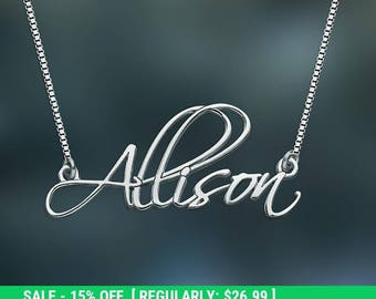 Valentine's Day Gifts Personalized Name Necklace, Sterling Silver Name Necklace, Cursive Font Necklace, Custom Name Jewelry, Nameplate