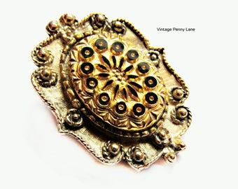 Vintage Gold Metal / Pressed Art Glass Scarf Clip