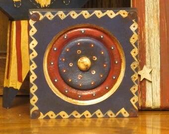Wood Patriotic/Americana Blue Block w/Circle