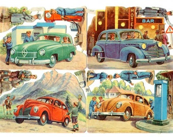 Vintage 1950's Embossed Paper Die Cuts, Embellishments, Automobiles, VW and Other Autos, Made in Germany by EAS, 4 Different Auto Scenes