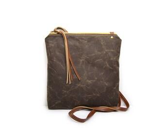 weekdayer • waxed canvas crossbody bag • dark brown waxed canvas - neutral every day bag - iPad bag - boho - summer