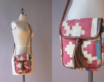 Vintage Cotton Kilim Bag / 1980s 1990s Leather Fringe Kilim Shoulder Bag / 90s Patterned Cross Body Bag
