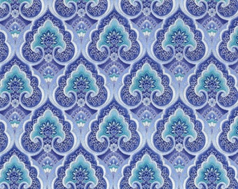 Dutchess Packed Medallion Blue Timeless Treasures Fabric