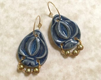 Misty Blue Porcelain Teardrop Earrings with Golden Pearls As Seen On TV show Bones-Porcelain and Pearl Earrings-Blue and Pearl Earrings
