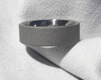 Titanium Ring, Wedding Band, 7mm size 7, Sandblasted, Clearance Listing