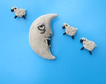 Moon counting sheep brooches - moon jewelry, whimsical brooches, sheep jewelry, yawning moon
