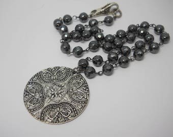 Beaded Handmade Necklace with Faceted Hematite Beads Silver Medallion Pendant Embossed Metal Handmade Chain Statement Necklace Dark Silver