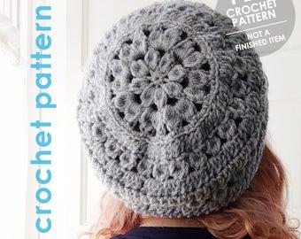 crochet pattern, crochet hat pattern, flower hat, crochet flower, dahlia, boho, bohemian, slouchy hat, mothers day gift, crochet slouchy hat