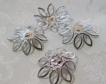Silver Plated Filigree Bead Caps 21mm Nickel Free 314-SP
