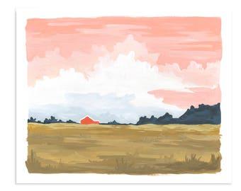 Twilight Landscape - 16x20 // 1canoe2 // Hand illustrated