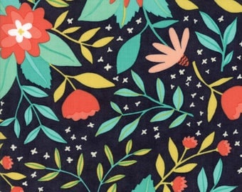 Midnight Garden Fabric // Black Floral Quilting Fabric  // 1canoe2 // cotton quilting