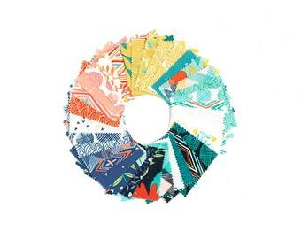 Midnight Garden Fabric // Mini Charm Pack // 1canoe2 // cotton quilting