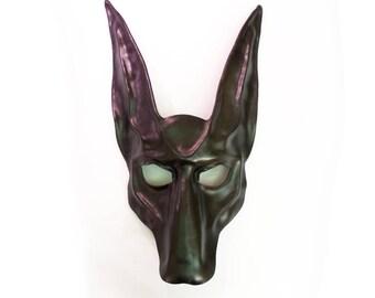 Black Jackal Leather Mask    Anubis Egypt Egyptian Dog sewn on wide elastic straps make it comfy and sturdy