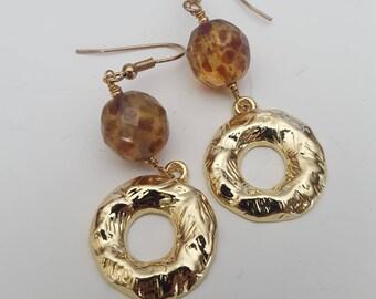 Gold dangle earrings |hoop earrings | bead drop earrings | simple earrings | mothers day gift mom gifts from daughter| boho jewelry