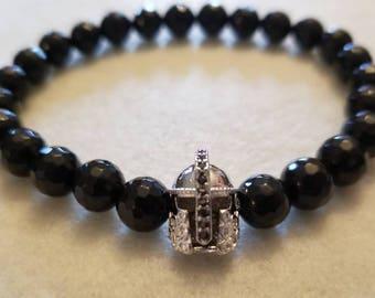 gladiator bracelet men, mens bracelet, black onyx bracelet for men, birthday gift for him, husband gift, boyfriend gift, spartan helmet