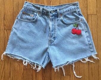 Vintage 90s Calvin Klein Light Blue High Waist Denim Cut Off Shorts // Cherry Patch - 29 inch waist