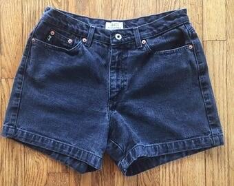 Vintage 90s GUESS Black High Waist Denim Shorts - 30 inch waist