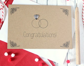 Wedding Congratulations Card. Handmade Wedding Card. Wedding Day Card. Wedding Rings Card. Diamond Rings. Engagement Ring Card. Ring Card
