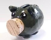dark green piggy bank