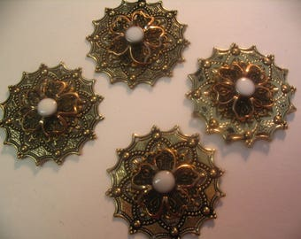 4 Filigree Layered Embellishments Findings Scrapbook Jewelry Craft Supplies
