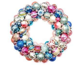 Ornament Wreath, Blue Glass Wreath, Pink Ornament Wreath, Vintage Ornament Wreath, Shiny Brite Wreath