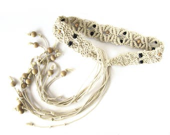 Vintage Macrame Belt With Beads and Fringe Tie Ends / Boho Style / Natural Jute / Hippie Chic Belt / Tan Jute Belt / Fringe / Brown Beads