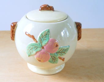 Vintage Pottery Cookie Jar with Apples • Robinson Ransbottom Pottery Co. RRP • American Pottery Cookie Jar