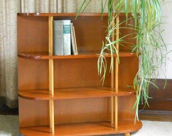 Vintage Pine and Plywood Bookcase • Mid Century Wood Bookcase • Vintage Tier Shelf