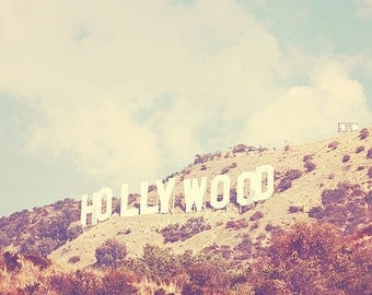 Clearance sale Hollywood photograph, Los Angeles 5x5 print, Hollywood Sign, LA wall art, California decor, girls room