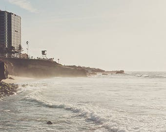 photography, La Jolla photo, landscape photograph, lifeguard tower, San Diego travel, neutral beach print, waves, vacation, La Jolla cove