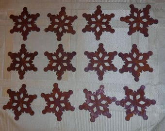 Lot of 12 2 inch Rusty Primitive Snowflakes 2""