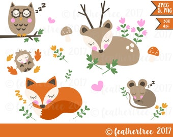 Digital Clipart - Sleeping Woodland Animals - Autumn / Fall - 300dpi JPEG and PNG files - Fox - Deer - Hedgehog - Owl - Mouse - Very Cute!