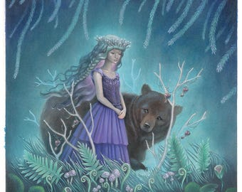 """Girl with Bear in Forest Acrylic Painting, Whimsical Art, Fairytale Illustration - """"Breath in the Forest"""""""