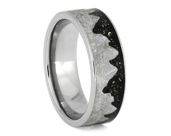 Meteorite Mountain Ring With Black Stardust, Titanium Wedding Band, Space Jewelry
