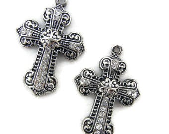 Pair Antique Silver-tone Marcasite-like Cross Charms with Rhinestone Accents