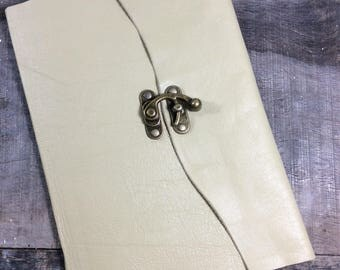 Cream Leather Baby Book by Binding Bee