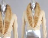 Morgane vison col cardigan | cardigan en cachemire Vintage |  gilet de fourrure Vintage
