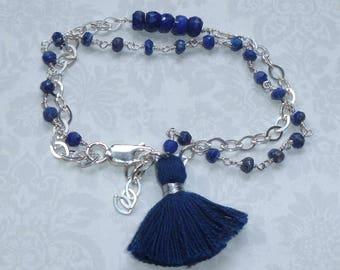 Double Strand Lapis Lazuli Tassel Bracelet, Sterling SIlver Lapis Gemstone Tassel Bracelet - Blue Tassel Bracelet
