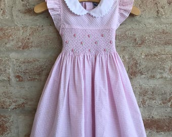 Vintage Baby Girl Rose Bud Embroidered Dress by Friedknit Creations