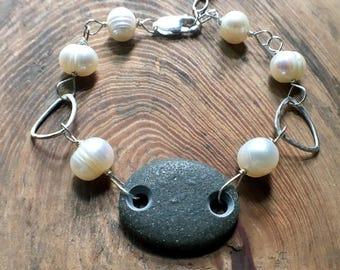 Beach Stone Pearl Bracelet, Adjustable Lake Erie Beach Stone Bracelet, June Birthstone