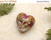 ON SALE 35% OFF Cranberry Treasure Heart Focal Bead - Handmade Glass Lampwork Bead 11818405