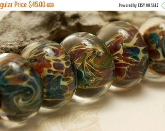 ON SALE 35% OFF Handmade Glass Lampwork Bead Set - Six Green w/Mutiple Color Rondelle Beads 10601901