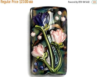 ON SALE 35% OFF Glass Lampwork Bead - Light Pink w/Purple Floral Kalera Focal Bead 11814803