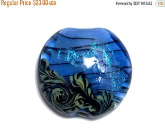 ON SALE 35% OFF New! 11837502 Arctic Blue Shimmer Lentil Focal Bead - Handmade Glass Lampwork Bead